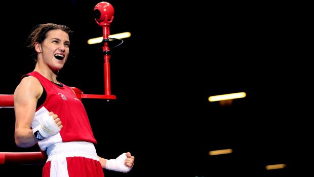 Katie Taylor celebrates in London. Photograph: Scott Heavey/Getty Images