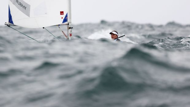 Annalise Murphy sails in the Women's Laser Radials in Rio. Photograph: Clive Mason/Getty Images