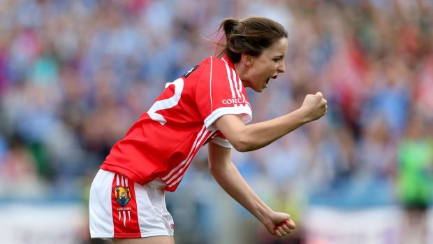 Cork's Eimear Scally celebrates scoring a goal against Dublin. Photograph: Ryan Byrne/Inpho