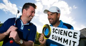 Orreco chief executive Brian Moore and golfer Pádraig Harrington. Photograph: Shane O'Neill Photography