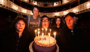 Willie White, artist director of the Dublin Theatre Festival blowing the 60th anniversary candles with Lynn Parker  (Rough Magic, Melt ), Ollie West (from  Hamnet), Grace Cathal (from Girl Song) and Sean McGinley (from King of the Castle, Druid). Photograph: Cyril Byrne