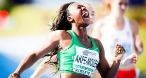 Gina Akpe-Moses celebrates as she crosses the line to take 100-metre gold in the Under-20 European championships in Italy. Photograph: Sportsfile