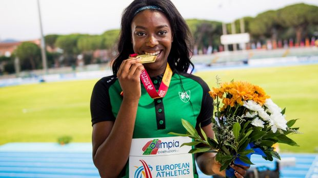 Gina Akpe-Moses with her gold medal in Frosseto, Italy. Photograph: Sportsfile