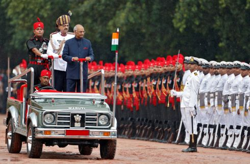 TAKING CHARGE: India's new president Ram Nath Kovind inspects a guard of honour after being sworn in at the Rashtrapati Bhavan presidential palace in New Delhi. Photograph: Cathal McNaughton/Reuters
