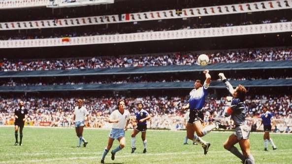 Diego Maradona scores his infamous 'Hand of God' goal against England at the 1986 World Cup. Photograph: Getty