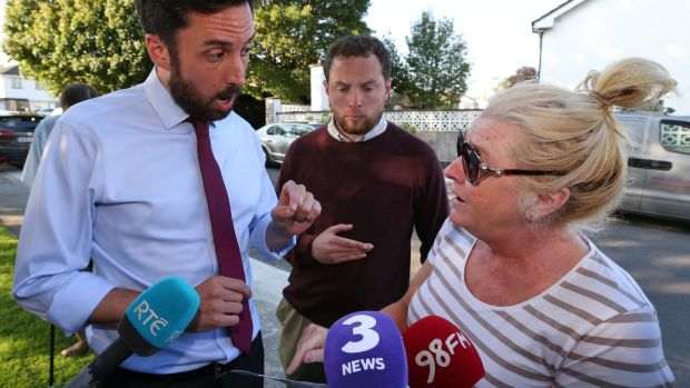 Minister for Local Government Eoghan Murphy speaks with Angela Quinn, a resident of Stameen Estate, Drogheda, which has been struck by water shortages. Photograph: Colin Keegan, Collins Dublin