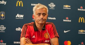 Manchester United manager Jose Mourinho speaks at a press conference at the Thompson Athletic Center on the Georgetown University Campus before the Champions Cup match with Barcelona which takes place on Wednesday night. Photo: EPA