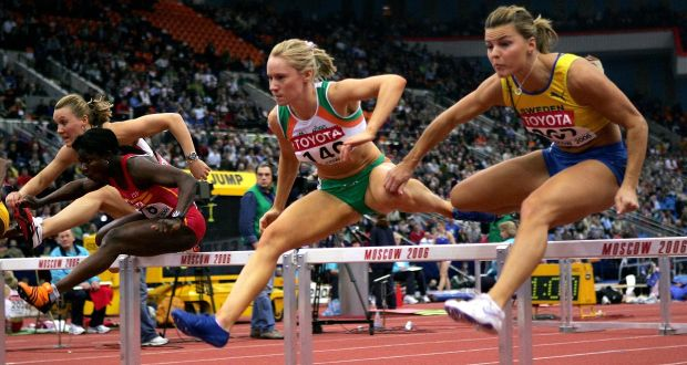 Derval O'Rourke on her way to winning gold in the 60m hurdles final in Moscow. Photograph: Inpho