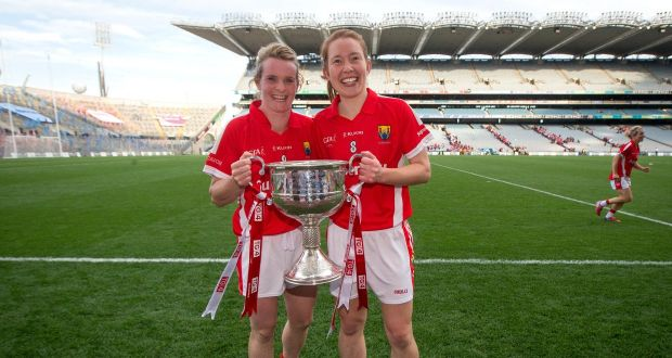 Briege Corkery and Rena Buckley celebrate Cork's All-Ireland victory over Dublin in the 2015 All Ireland final. Photograph: Ryan Byrne/Inpho