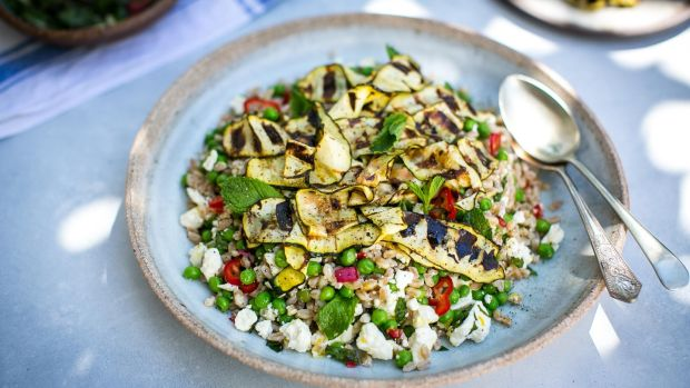 Griddled courgette salad with chilli and mint salsa
