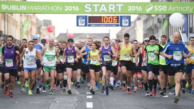 Competitors at the start of the Dublin Marathon last year. Thousands of runners are preparing ahead of the event in October. Photograph: Cody Glenn/Sportsfile