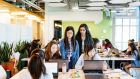 Young women at a coding camp at the GoDaddy offices in Sunnyvale, California  Photograph: Jason Henry/The New York Times