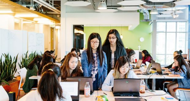 Young women at a coding camp at the GoDaddy offices in Sunnyvale 3420f4027