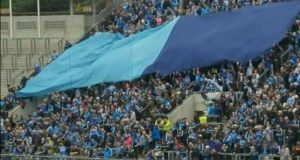 The flag regularly seen unfurled on Hill 16 during Dublin games. Photograph: All Dublin GAA Fans/Facebook