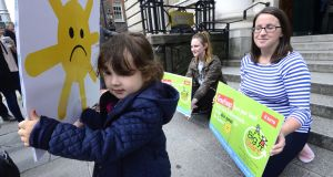 Sophia Byrne Singh from Dublin who joined childcare workers outside the Department of Finance earlier this month where postcards from the dole were delivered to Minister Paschal Donohoe to highlight the precarious contracts and lack of state investment for early years sector. Photograph: Cyril Byrne