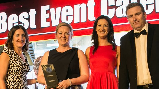 Cara MacManamon, Director of Sales & Events, The Conference and Events Venue at the Mansion House presents the Best Professional Conference Organiser award to Anja Fischer & Louisa Frabderich, Abbey Conference & Events.