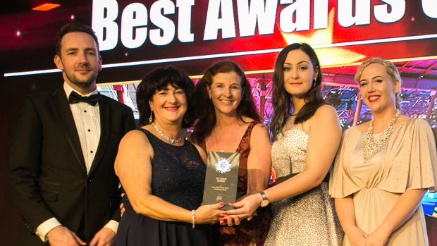 Dagan Fleming, Sales Manager, Stage & Lighting presents the Best In-House Event Team award to, Croke Park Meetings & Events Team.