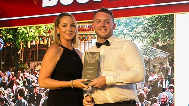 Declan Maxwell, Restaurant Manager, Luna Restaurant presents the Best Purpose Build Event Venue award to Sinead Heneghan, Croke Park Meetings & Events