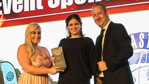 Dagan Fleming, Sales Manager, Stage & Lighting presents the Best Hotel Event Venue award to, Clontarf Castle Hotel Team.
