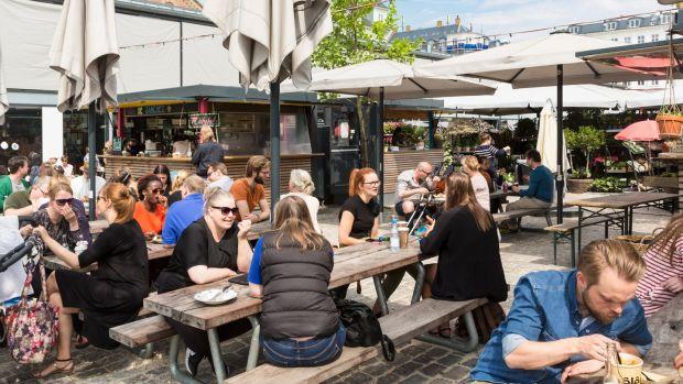 Af fresco lunch at the Torvehallerne food market. Photograph: Getty Images