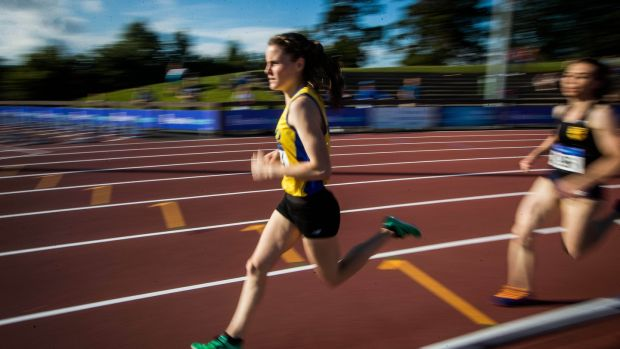 Ciara Mageean on her way to victory in the 800m at the national track and field championships at Morton Stadium. Photograph: Ryan Byrne/Inpho