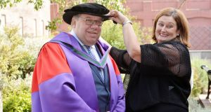 Former taoiseach Brian Cowen with wife Mary after he was  conferred with an honorary doctorate of law. Photograph: Alan Betson