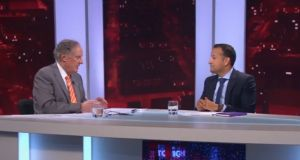 Taoiseach Leo Varadkar (right) speaks to Vincent Browne on Wednesday night. Photograph: Vincent Browne TV3/Twitter