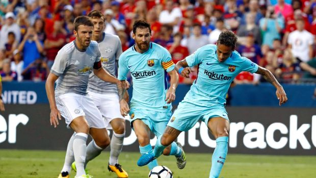 Neymar scores the only goal of the game as Barcelona edged out Manchester United in Washington DC. Photograph: Patrick Semansky/AP
