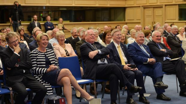 (L-R) Eamon O'Cuiv, Mary Coughlan, Mary Hanafin, Michael McDowell, Donie Cassidy, Senator Terry Leyden and Former taoiseach Bertie Ahern in the audience. Photograph: Alan Betson/The Irish Times