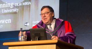 Former taoiseach Brian Cowen during a conferring of honorary degree by the National University of Ireland. Photograph: Collins