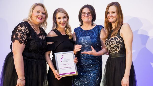 Sarah McCourt, Katie Cosgrove and Teresa McCreery from the Community Midwives Team, National Maternity Hospital, Holles Street, Dublin, receiving their award for innovation in practice from Madeleine Murphy, the former editor of the 'British Journal of Midwifery'