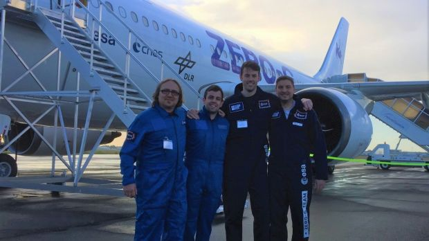 The Trinity research team with the Novespace Zero-G microgravity research aircraft, from left: Dr Tony Robinson, Dr Michael Gibbons, Dr Seamus O'Shaughnessy, Dr Maxime Rouzes