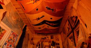 Pearl Reddington's  Indian sarong on the ceiling of her cabin. Photograph: Alan Betson