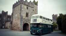 Back in time for tea in a vintage double-decker bus