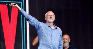 British Labour party leader Jeremy Corbyn at the Glastonbury festival. Photograph: Yui Mok/PA Wire