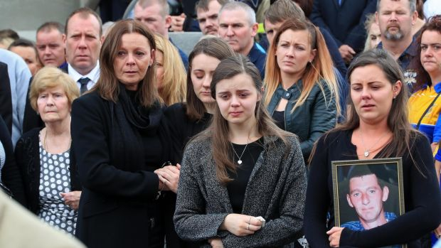 (Left to right) Dermot Byrne's mother Phyllis, his wife Geraldine and daughters Rebecca, Shawna and Emma at St Colmcille's Church in Swords. Photograph: Colin Keegan/Collins