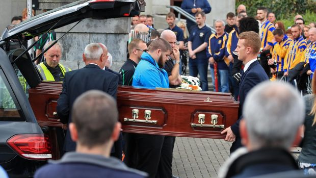 Dermot Byrne's coffin being carried into St Colmcille's Church in Swords ahead of his funeral Mass. Photograph: Colin Keegan/Collins Dublin