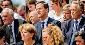 Dutch prime minister Mark Rutte attends an event to unveil a national monument to commemorate the victims of the Malaysia Airlines crash in Ukraine in 2014, in Vijfhuizen, Netherlands, on July 17th, 2017. Photograph: Remko de Waal/Reuters