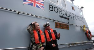 Home secretary Amber Rudd on board a coastal patrol vessel called Nimrod. Photograph: Andrew Milligan/PA