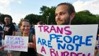 Protesters gather in front of the White House after President Trump announced transgender people may not serve 'in any capacity' in the US military. Photograph: AFP Photo