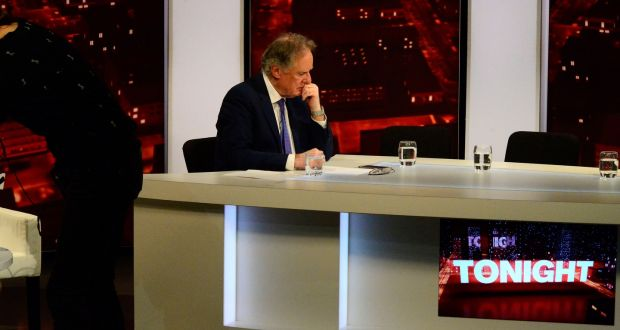 Vincent Browne at the TV3 studio on Thursday night for his final show. Photograph: Cyril Byrne