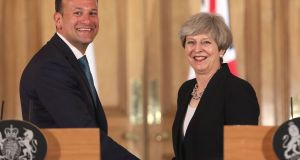 Taoiseach Leo Varadkar and British  Prime Minister Theresa May in Downing Street. Photograph:  Philip Toscano/PA