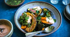 Roast squash platter with spiced herb dressing