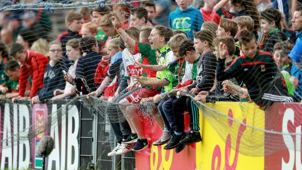 Young Mayo fans gather for the qualifier clash against Fermanagh in McHale Park, Castlebar last summer. Photograph: James Crombie/Inpho
