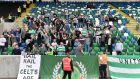 Celtic fans have been fined for their banners at Windsor Park, Belfast earlier this month. Photograph: Inpho