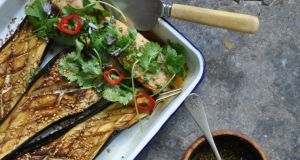 Grilled Mackerel with Aubergine boats