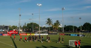 Barcelona players during a training session at Barry University in Miami, Florida. Photograph: PA