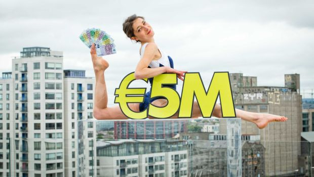 The Bigger Better Lotto launch in Dublin with contortionist Erika Brocca. Photograph: ©INPHO/Morgan Treacy