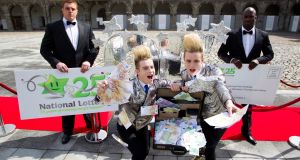 Jedward celebrates 25 years of the National Lottery. Photograph:  Andres Poveda