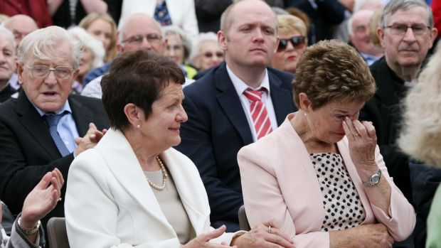 Anne Byrne and Frances Morley, wives of the slain gardaí pictured at the ceremony. Photograph: Brian Farrell